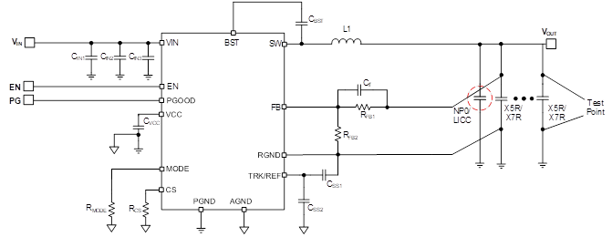 Figure 9: COT Regulator Application Schematic with NP0 Capacitor or LICC
